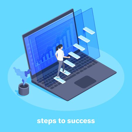 isometric image on a blue background, a woman in a business suit goes up the stairs on a laptop screen