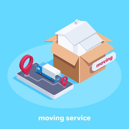 isometric vector image on a blue background, a house in a box and a truck on a smartphone screen, moving and transportation service