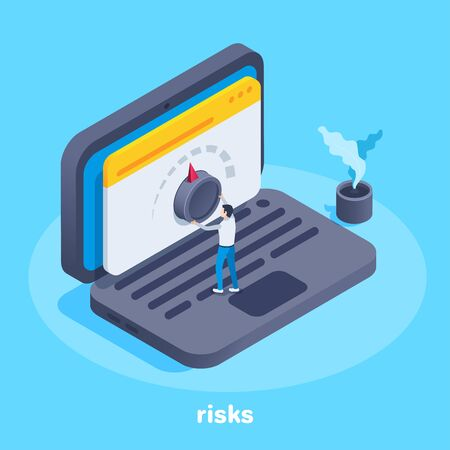 isometric vector image on a blue background, a man twists an adjustment wheel on a laptop screen, raising or lowering risks in business Ilustração