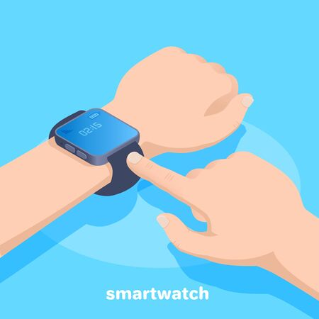 isometric vector image on a blue background, smart watch on a male hand, new technologies