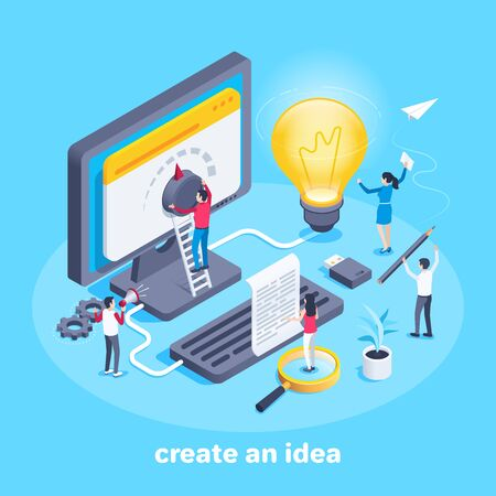 isometric vector image on a blue background, a team of people working on creating their business ideas, men and women at the computer screen and a big light bulb Ilustração