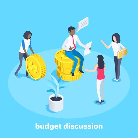isometric image on a blue background on the topic of finance, a man sits on coins and his colleagues discussing the issue of budget