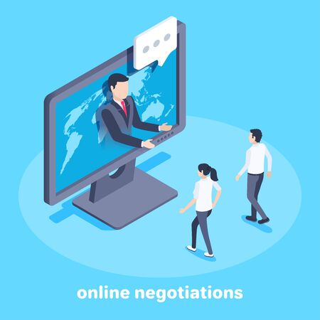 isometric vector image on a blue background on the theme of business, a man from a computer screen calls other people to himself or online communicates with business partners