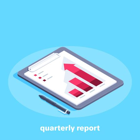 isometric vector image on a blue background on the theme of business, a tablet with a chart printed on a sheet of paper and a pen lying next to it, quarterly report Illusztráció