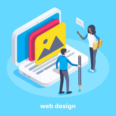 isometric vector image on a blue background, a man and a woman are discussing while standing near a large laptop on the screen of which image icon, web design