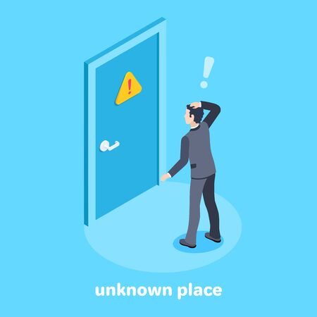 isometric vector image on a blue background, a man in a business suit stands surprised in front of a closed door with an exclamation mark, unknown place  イラスト・ベクター素材