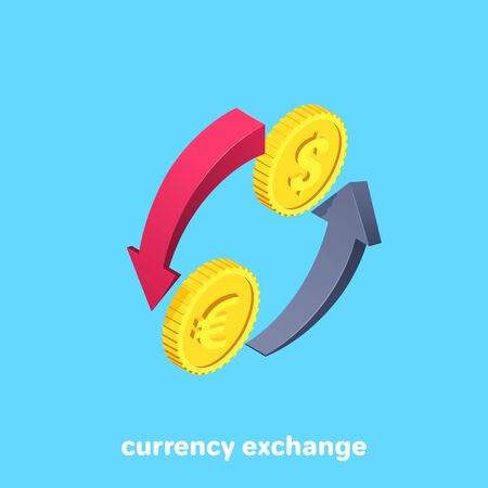 isometric vector image on a blue background, icon in the form of two arrows and gold coins with a dollar and euro icon, currency exchange