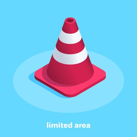 isometric vector image on a blue background, traffic cone icon, limited area