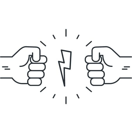 flat vector image on a white background in linear style, two hands clasped in a fist pointing at each other and a zipper between them, opposition or rivalry