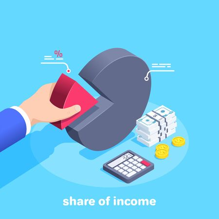 isometric vector image on a blue background, a man in a business suit takes a red chart part, calculator and money, share of income Vecteurs