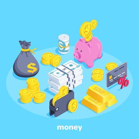 isometrisches Vektorbild auf blauem Hintergrund, eine Brieftasche mit Münzen und Banknoten, ein Sparschwein und ein Geldbeutel, Goldbarren und eine Bankkarte, eine Reihe von Objekten zum Thema Geld