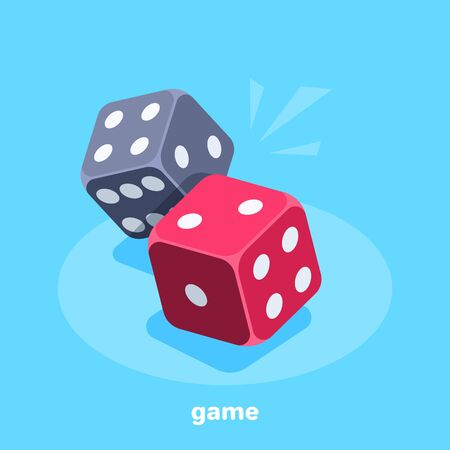 isometric vector image on a blue background, red and black dice, gambling and entertainment