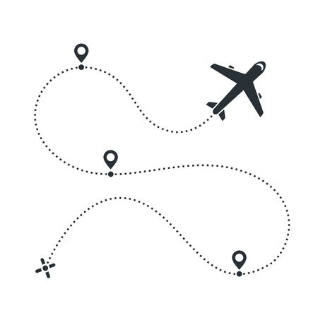 flat vector image on a white background, airplane icon and the path that he flew with location icons Ilustrace