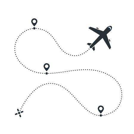 image vectorielle à plat sur fond blanc, icône d'avion et le chemin qu'il a emprunté avec des icônes de localisation Vecteurs