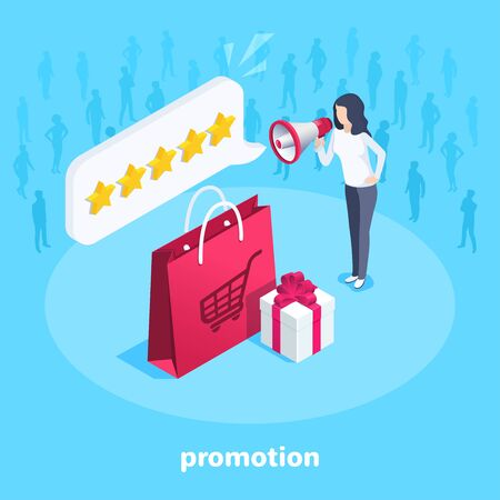 isometric vector image on a blue background, a woman with a loudspeaker stands next to a package for purchases and a gift, promotion of goods or services