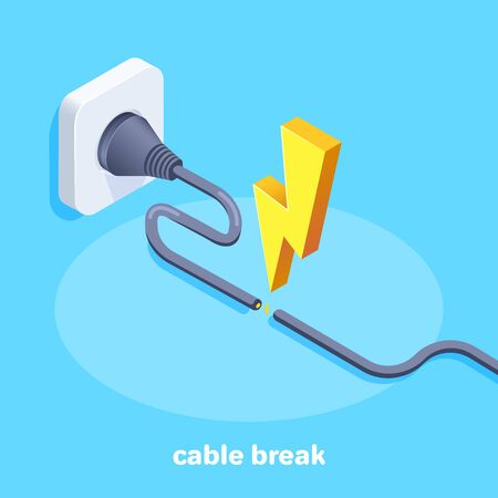 isometric vector image on a blue background, a tattered cable plugged into an outlet and lightning from a short circuit, electric shock warning