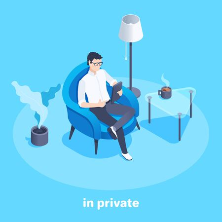 isometric vector image on a blue background, a man sits in an armchair and looks at his smartphone, in a private setting, work from home Векторная Иллюстрация