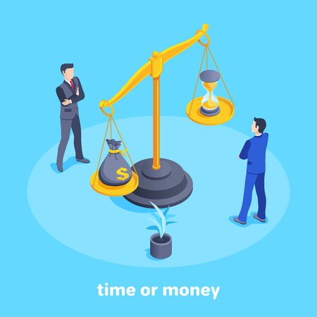 isometric vector image on a blue background, men in business suits look at the scales with a bag of money and an hourglass, the choice of money or time Ilustração