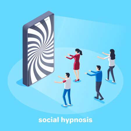isometric vector image on a blue background, a hypnotic picture on the smartphone screen and people with outstretched hands go to him, social hypnosis