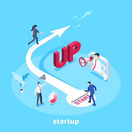 isometric vector image on a blue background, a woman in business clothes runs up the arrow and a man stands at the start, startup or competition