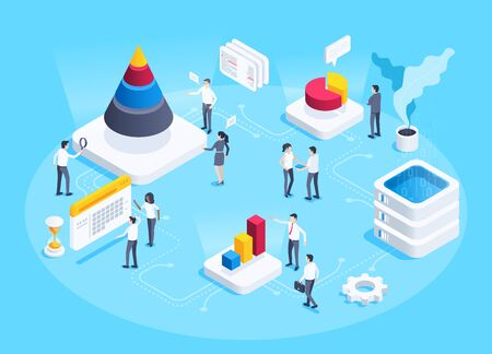 isometric vector image on a blue background, analytic center with employees, charts and data processing server, statistics collection