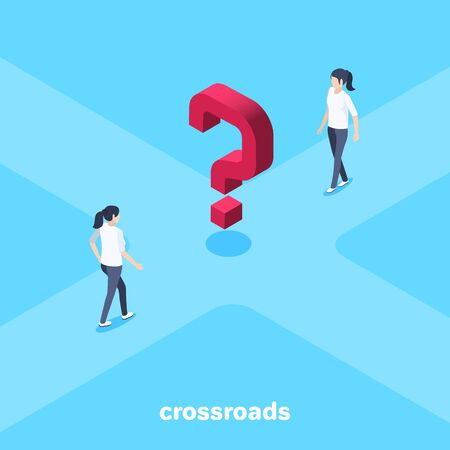 isometric vector image on a blue background, a woman goes to the center of the crossroads where is the red question mark
