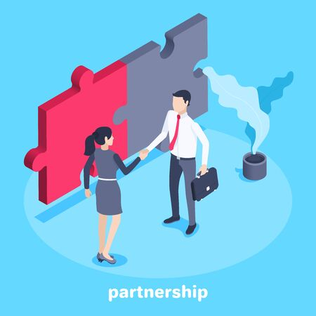isometric vector image on a blue background, a man in business clothes shakes hands with a woman and then connected pieces of a puzzle, business cooperation and partnership Stock Illustratie