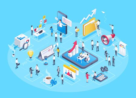 isometric vector image on a blue background, business people work in the office and a set of business icons in the form of a composition of related elements Ilustração