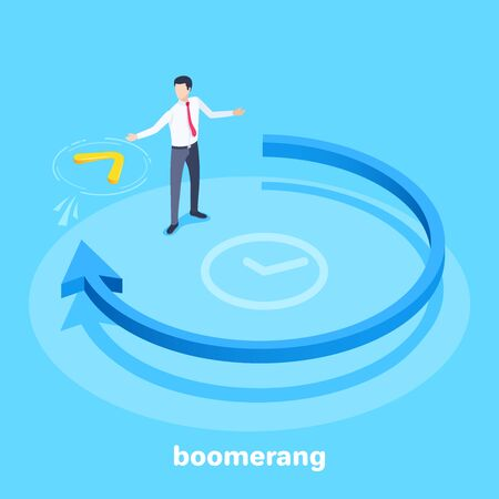 A blue arrow going in a circle and a man catches a boomerang flying towards him on blue Ilustração