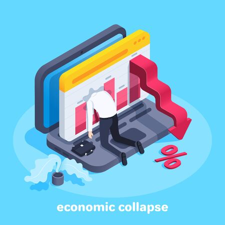 isometric vector image on a blue background, a man in business clothes on his knees, went his head out the window with a chart on a laptop screen and a red arrow pointing down, economic collapse Illustration