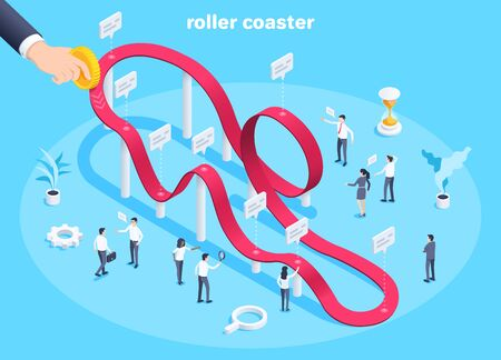 Business people and roller coaster chartisometric vector image on blue