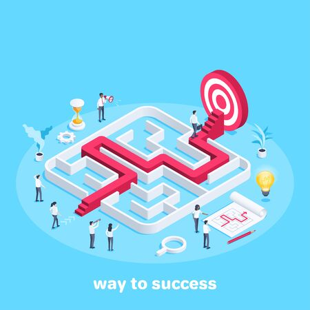 isometric vector image on a blue background, people in business clothes go through the maze, the path to the goal or success, teamwork and business strategy Vetores