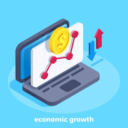 isometric vector image on a blue background, a laptop with an open window of financial progarmma, a gold coin with a dollar icon over a curve diagram and up and down arrows, economic growth