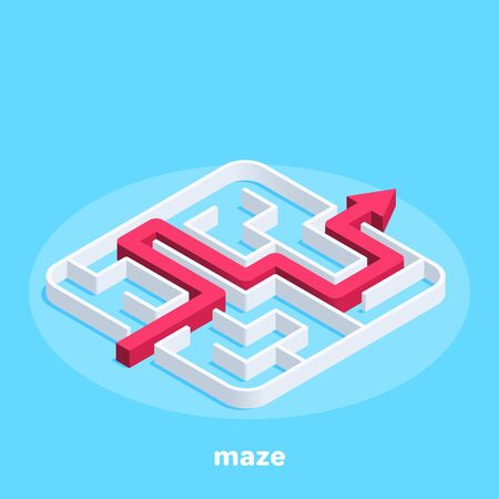 isometric vector image on a blue background, a square maze and the path of its passage in the form of a red arrow