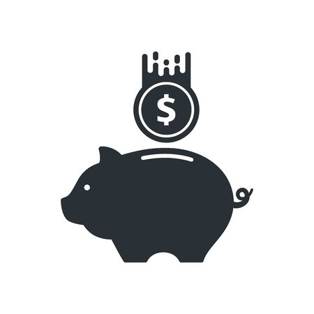 flat vector image on a white background, piggy bank and coins icon Illustration