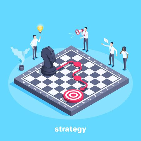 isometric vector image on a blue background, people in business clothes around a chessboard on which a horse stands and the strategy of his moves to the goal is indicated Ilustração