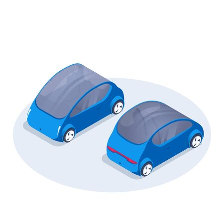 isometric vector image on a white background, front and back view car icon in blue