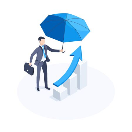 Isometric vector image on a white background, a man in a business suit with a blue umbrella stands near the chart with an arrow going up, business success and care