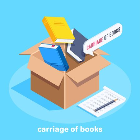 isometric vector image on a blue background, a corton box into which books fall and a sheet of paper with a pencil, carriage of books Ilustração