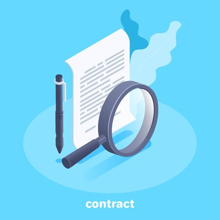 isometric vector image on a blue background, a icon in the form of a sheet of paper with a pen and a magnifier, a contract or business documentation