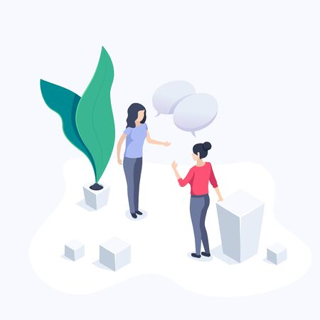 isometric vector image on a white background, business women communicate in the office, conversation