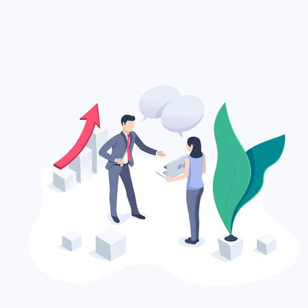 isometric vector image on a white background, a man in a business suit and a woman communicate in the office, discussion Ilustração