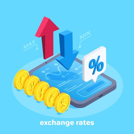 isometric vector image on a blue background, up and down arrows above tablet screen and coins with different currencies icons, text bubble with percent icon Illusztráció