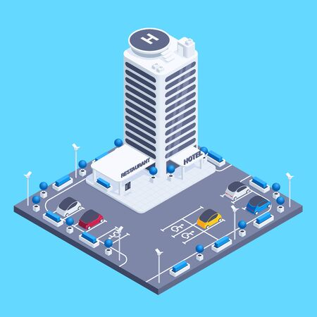 isometric vector image on a blue background, a multi-storey hotel building with a helipad and parking for cars