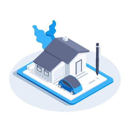 isometric vector image on a white background, home and car icon on a tablet with an insurance document and a pen for signing Illustration