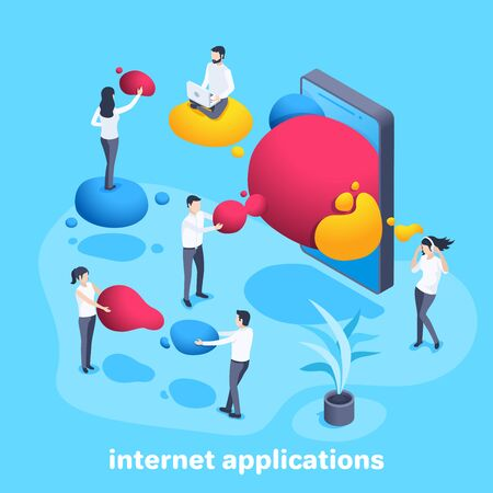 isometric vector image on a blue background, people with colored bubbles from a smartphone, favorite internet applications