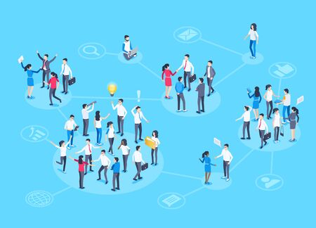 isometric vector image on a blue background, people in business suits are grouped into different groups in contact with each other, social groups