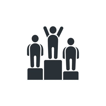 flat vector image on white background, pedestal and people icon, success or victory