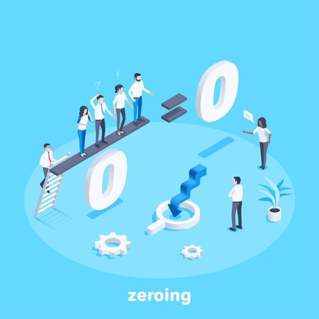 isometric vector image on a blue background, people stand in the mathematical example of dividing by zero, zeroing the working staff