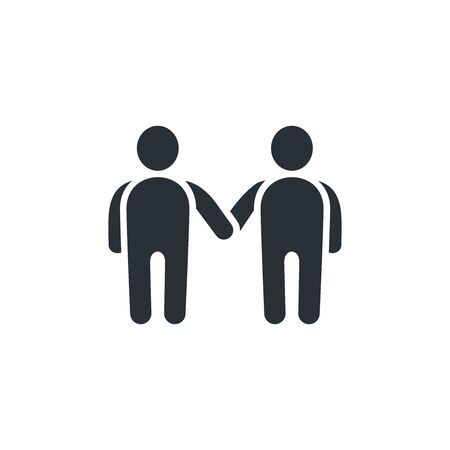 flat vector image on white background, icon of people shaking hands Illustration